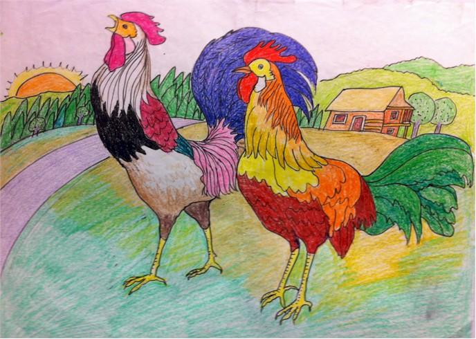 鸡年儿童手绘画